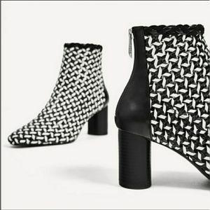 NWOT Zara Black and White braided boots
